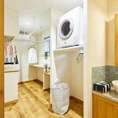 お洗濯作業をリズム良くするナチュラルなランドリースペース