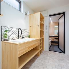 洗面脱衣室/造作洗面/注文住宅はウッドスタイル株式会社
