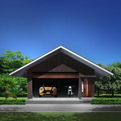 デザイナー住宅の存在感あふれる壮大なガレージ