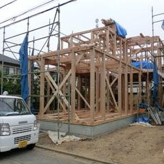 上棟は、一日で骨組を組み立てます。千葉県我孫子市青山都市建設にお任せ下さい。!92