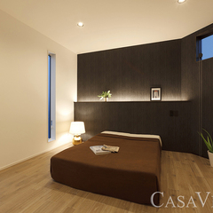 間接照明とデザインクロスで落ち着いた印象の主寝室