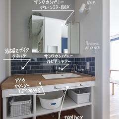 シンプルで清潔感がある造作洗面化粧台