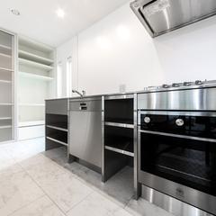 美しい規格住宅のスタイリッシュなシンプルのキッチン