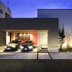 天童市の新築一戸建なら山形県山形市の設計士とつくるデザイナーズ住宅ハウスデザインまで♪ 塗り壁、ガレージ、車庫