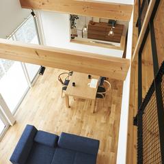 東根市の注文住宅なら山形県山形市の設計士とつくるデザイナーズ住宅ハウスデザインまで♪1-2-10 吹き抜け・表し梁