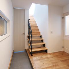 東根市猪野沢の新築一戸建なら山形県山形市の設計士とつくるデザイナーズ住宅ハウスデザインまで♪1-3-2 玄関・階段・ホール