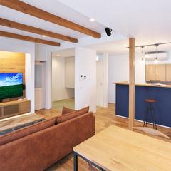 村山市稲下の新築一戸建なら山形県山形市の設計士とつくるデザイナーズ住宅ハウスデザインまで♪1-3-5 リビング・ダイニング・造作・TVボード・アクセントクロス・照明