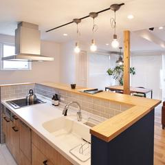村山市の夢のマイホームなら山形県山形市の設計士とつくるデザイナーズ住宅ハウスデザインまで♪1-3-9 キッチン・照明・タイル