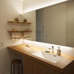 天童市の注文住宅なら山形県山形市の設計士とつくるデザイナーズ住宅ハウスデザインまで♪1-5-10 夜・照明・造作・洗面化粧台