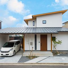 寒河江市の新築一戸建なら山形県山形市の設計士とつくるデザイナーズ住宅ハウスデザインまで♪1-9-1 和モダン、ガレージ、外観