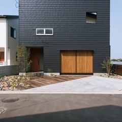 天童市の新築一戸建なら山形県山形市の設計士とつくるデザイナーズ住宅ハウスデザインまで♪1-9-3 外観、ガルバリウム、ブラック、キューブ
